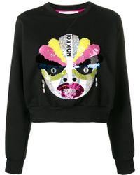 NO KA 'OI Embellished Cropped Sweatshirt - Black
