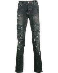 Philipp Plein Distresses Slim-fit Jeans - Черный