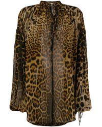 5a80376288ce64 Saint Laurent - Leopard Print Silk Blouse - Lyst