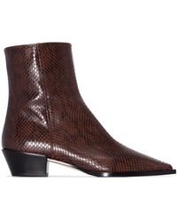 Aeyde Burgundy Ruby 40 Leather Ankle Boots - Brown