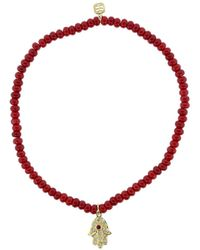 Sydney Evan 14kt Yellow Gold, Diamond And Ruby Hamsa Charm Bracelet - Red