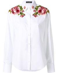 Dolce & Gabbana Camisa con paneles florales - Blanco