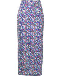 BERNADETTE Floral Print Pencil Skirt - Purple