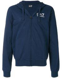 EA7 - Logo Print Zip-up Hoodie - Lyst