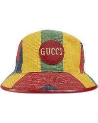 Gucci Gestreepte Fedora - Geel