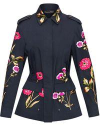 Oscar de la Renta Floral-embroidered Utility Jacket - Black