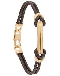 Giorgio Armani Engraved Logo Braided Bracelet - Brown