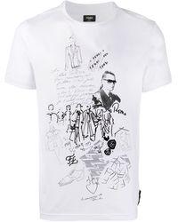 Fendi Karl コットンジャージーtシャツ - ホワイト