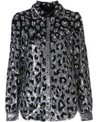 retroféte Camisa con purpurina y motivo de leopardo - Multicolor