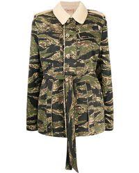 N°21 Куртка На Пуговицах С Камуфляжным Узором - Зеленый
