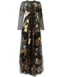 Valentino Robe longue à fleurs brodées - Noir