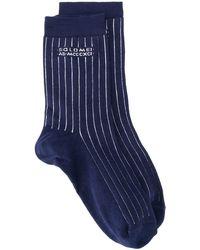 Brunello Cucinelli ストライプ 靴下 - ブルー