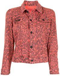 Mother Укороченная Джинсовая Куртка С Леопардовым Принтом - Розовый