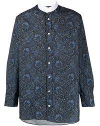 Mackintosh ペイズリー マンダリンカラーシャツ - ブルー