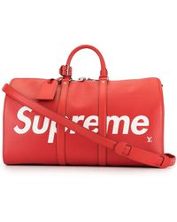 Louis Vuitton X Supreme Pre-owned Keepall Bandouliere 45 Travel Bag - Red
