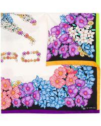 Etro Floral Print Silk Scarf - White