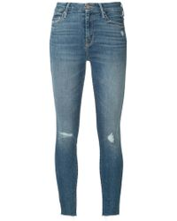 Mother - Distressed Cropped Jeans - Lyst