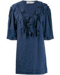 COACH Floral Print Ruffle Dress - Blue