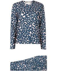 Comme des Garçons Ensemble top-legging imprimé - Bleu