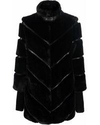 Patrizia Pepe Faux-fur Panelled Jacket - Black