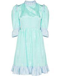 BATSHEVA Spring ラッフルトリム ドレス - ブルー
