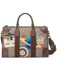 Gucci Leather Courrier GG Supreme Duffle Bag - Multicolor