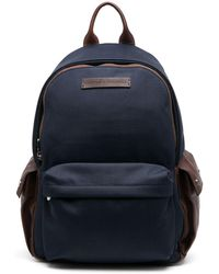Brunello Cucinelli Colour-block Logo Patch Backpack - Blue