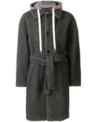 MSGM - Hooded Single-breasted Coat - Lyst