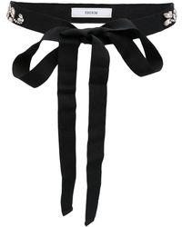 Erdem Crystal Embellished Tie Belt - Black