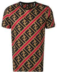 9f78d7d9524 Fendi - Double F Logo T-shirt - Lyst