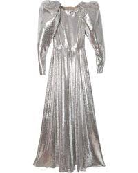 Carolina Herrera スパンコール パフスリーブドレス - メタリック