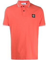 Stone Island Short Sleeve Logo Patch Polo Shirt - Orange