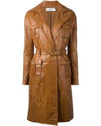 Dior Пальто Со Вставками - Коричневый