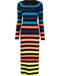 Christopher John Rogers Striped Sweater Midi Dress - Black