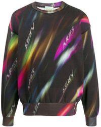 Aries Logo Print Crew Neck Sweatshirt - Black