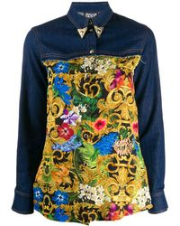 Versace Jeans Blouse Met Barokprint - Blauw