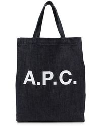 A.P.C. ロゴ デニムハンドバッグ - ブルー