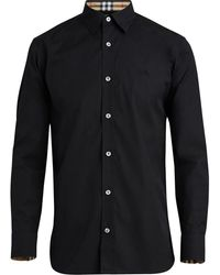 Burberry Stretch Cotton Poplin Shirt - Black
