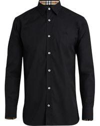 Burberry Camisa de popelina con cuello y puños a cuadros - Negro