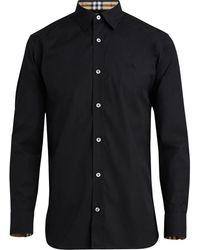 Burberry Geruit Manchet Stretch Katoen Poplin Shirt - Zwart
