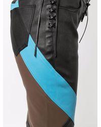 Etro Pantalon colour block en cuir - Noir