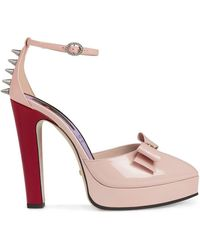 Gucci Patent Leather Pump With Bow - Roze