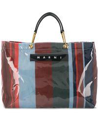 Marni ブルー And レッド ラージ Glossy Grip ショッピング バッグ