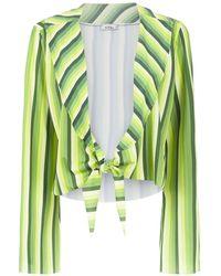 Amir Slama Striped Cropped Top - Зеленый