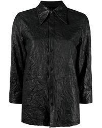 Zadig & Voltaire Tris Cuir Froissé レザーシャツ - ブラック