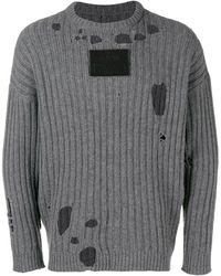A_COLD_WALL* Logo Patch Distressed Jumper - Gray