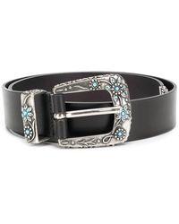 Alberta Ferretti Floral Studded Belt - Black