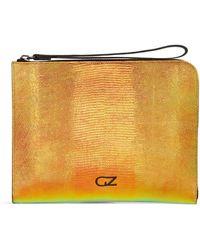 Giuseppe Zanotti Snakeskin-effect Logo Clutch Bag - Orange