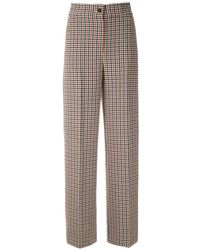 Tory Burch Plaid Wide Leg Pants - マルチカラー