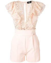 Elisabetta Franchi - Lace Embroidered Playsuit - Lyst